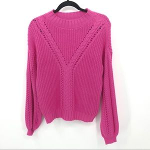 3 For $20 Marled S Pink Cable Knit Sweater